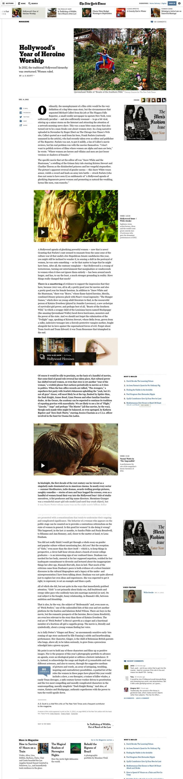 New York Times redesign. Article Page.