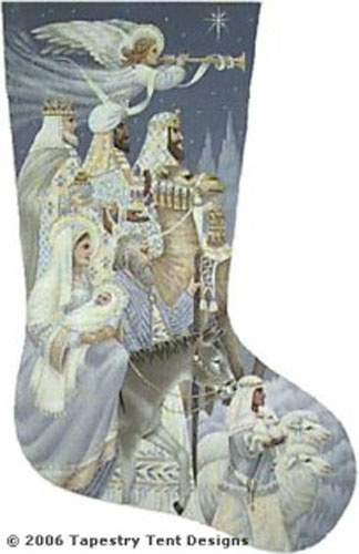 The Nativity Needlepoint Stocking--this is my husband's (as yet unstitched) stocking...