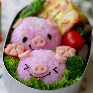 Exciting Ways To Make SushiPiggie, Rice Bowls, Little Pigs, Birds Food, Baby Pigs, Food Design, Husband Birthday, Food Art, Cute Food