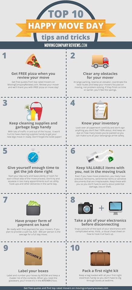 Move season is here! Keep these Top 10 Happy Move Day tips and tricks in mind! #Moving #HappyMoveTip