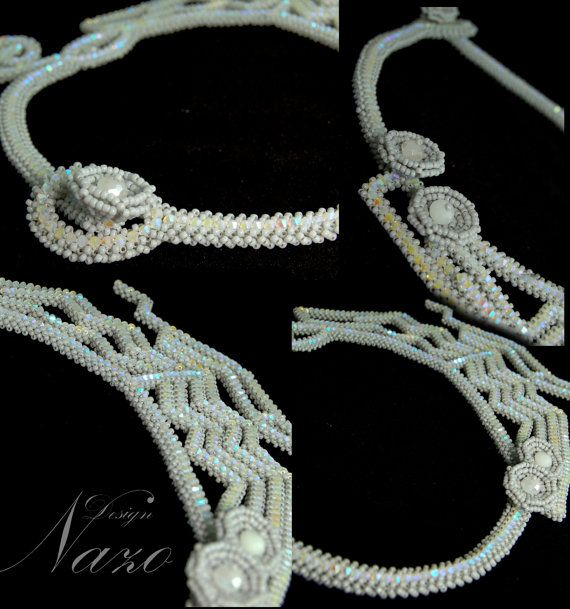 Handmade Necklace Beaded Necklace White Crystal by NazoDesign