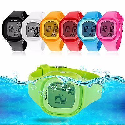 SYNOKE Silicone LED Light Digital Waterproof Sports Kids Girl Boy Wrist Watches