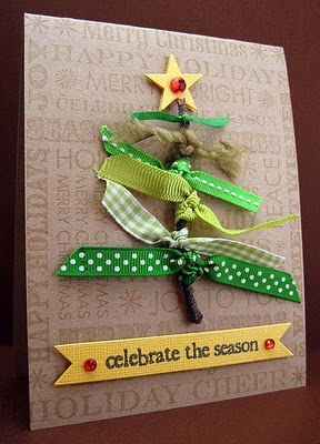 DIY Christmas Card. Green ribbons and yarns. Carried Away Blog. #christmas #DIY