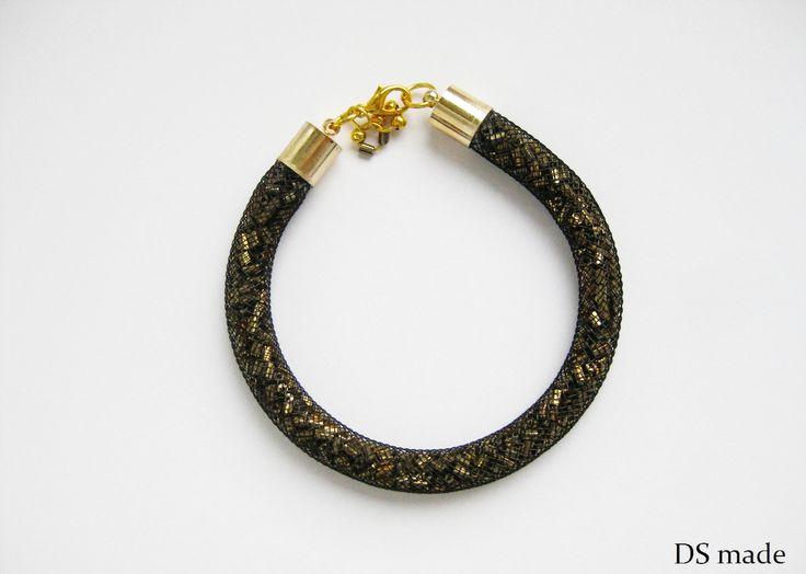 bracelet gold  crystals bransoletka  siatka z kryształkami złota