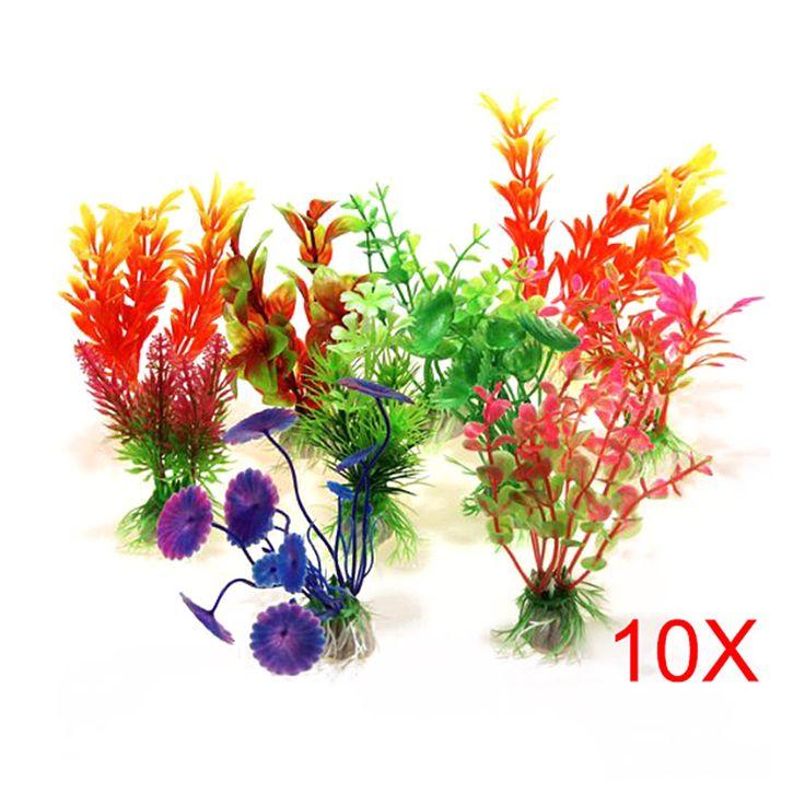 10 PCS Simulation Artificial Plants Aquarium Decor Water Weeds Ornament Plant Fish Tank Aquariums Grass Decoration #Affiliate