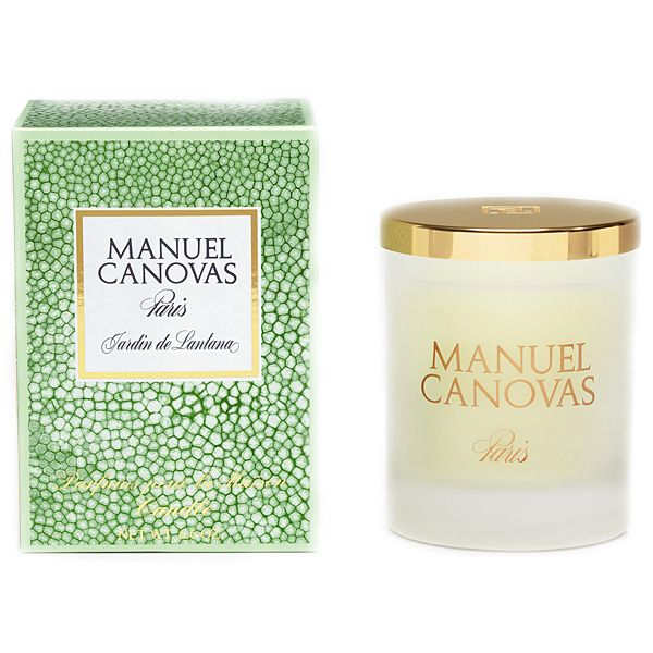 Jardin de Lantana Manuel Canovas Candle | Manuel Canovas Jardin de Lantana Medium Candle is a subtle green floral note with verbena, lantana, mango, blackcurrant, mint leaves and coconut. This Manuel Canovas medium candle is poured into a frosted vessel. Brass snuff lid NOT included