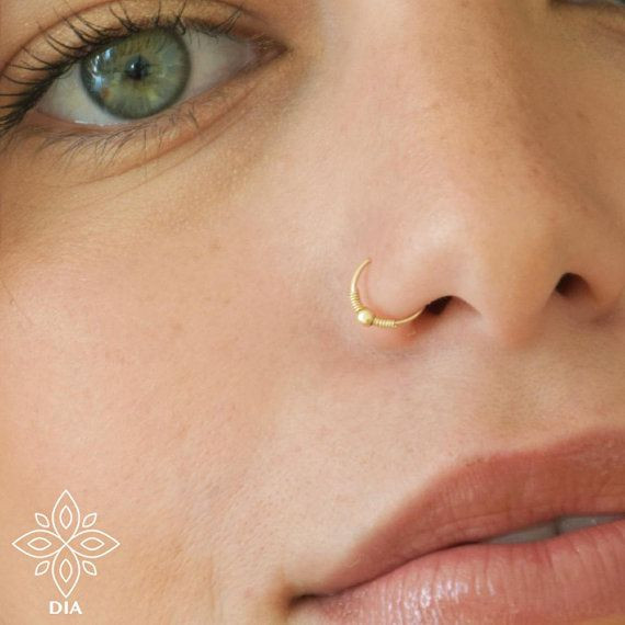 Nose Ring Hoop Solid Gold Nose Ring Indian Nose Ring Tribal Nose