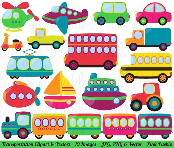 Transportation Clipart Clip Art Vectors, Great for Kids Birthday Party Invitations - Commercial and Personal Use on Etsy, $6.00