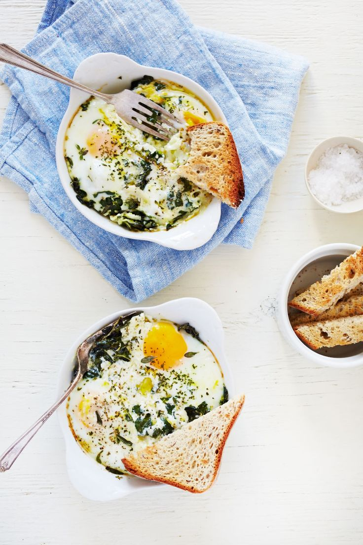 ~ Baked Egg with Ricotta, Thyme and Chervil ~