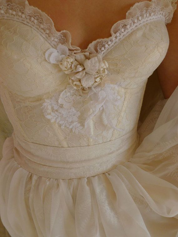 RESERVED Fern Bustier Wedding Gown... whimsical by jadadreaming