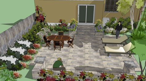 Over patio with landing and seat wall. 3D design.