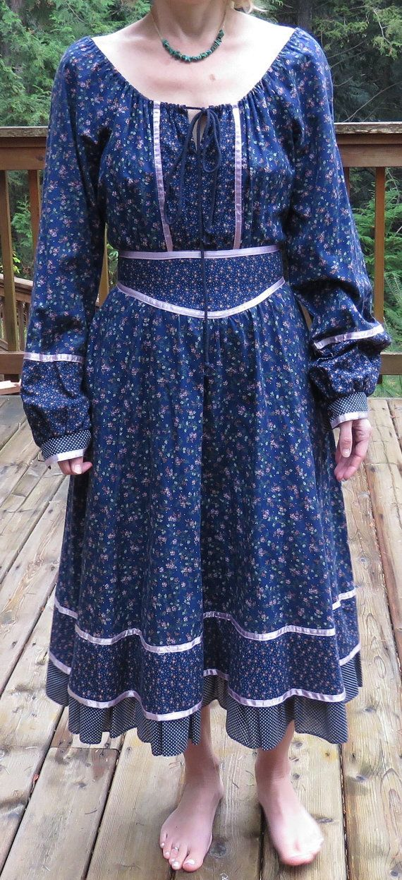 Gunne Sax Dress, Blue Calico and Swiss Dots Gunne Sax Boho Peasant Style Midi Prairie Dress, Size S/ XS