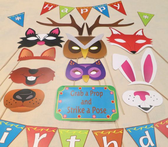 Pdf woodland photo booth props printable diy by chelawilliams