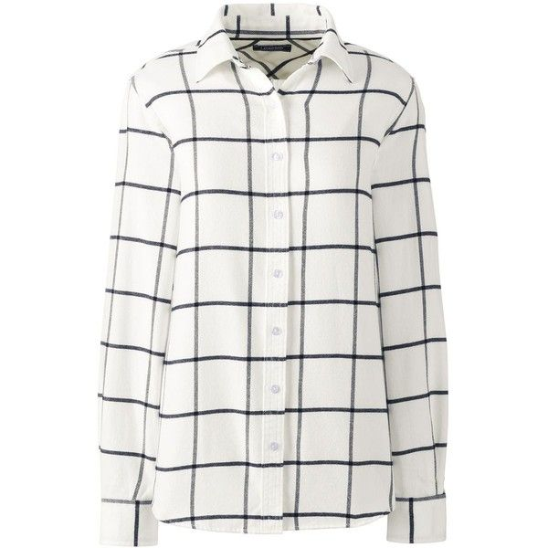 Lands' End Women's Petite Flannel Shirt (150 BRL) ❤ liked on Polyvore featuring tops, ivory, lands' end, petite tops, plaid shirts, white shirt and plaid top