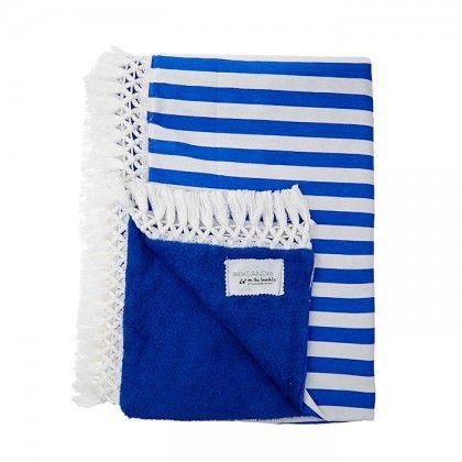 Πετσέτα μπλε με ύφασμα ριγέ μπλε ρουά και λευκο με λευκή φούντα