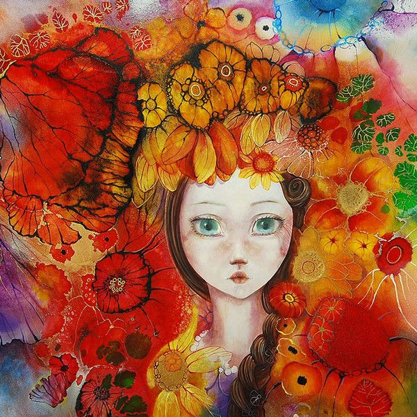 'Sunflower', A Unique Edition Print with mixed media 3D elements, by artist Kerry Darlington.  From the Flower Girl collection.  Available at Wyecliffe: http://wyecliffe.com/collections/kerry-darlington-art/products/sunflower-kerry-darlington