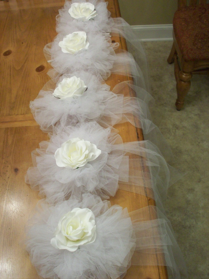 Beautiful Elegant Handtied Tulle Bows with a Silk Rose Flower for Church Pews or Chairs Backs
