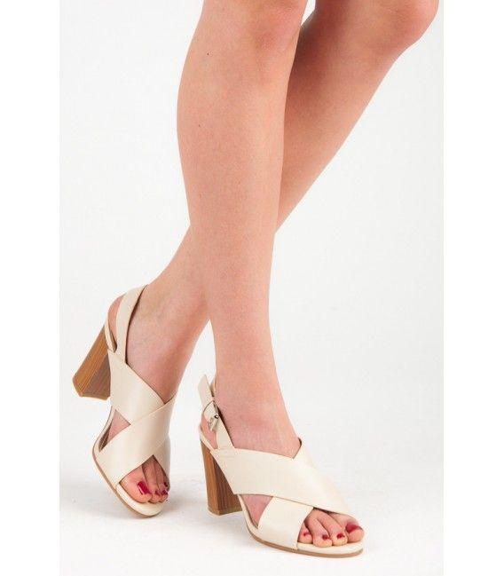 25cde1bd05a4f Béžové sandále na podpätku | Dámske sandále | Heeled mules, Shoes a ...