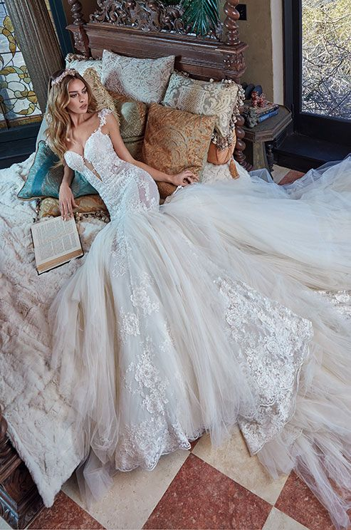 Mermaid wedding dress with a low back, full skirt and dramatic tulle train.Galia Lahav Le Secret Royal Couture Collection