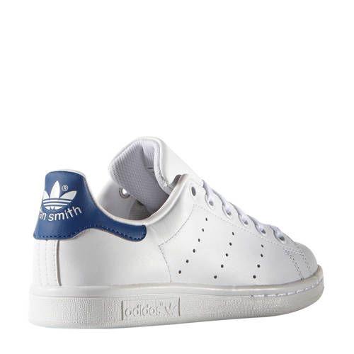 Stan Smith J leren sneakers wit/kobaltblauw (met ...