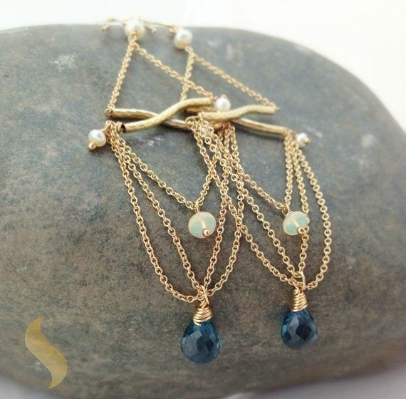 BLUE TOPAZ, FIRE OPAL & GOLD CHAIN CHANDELIER EARRINGS