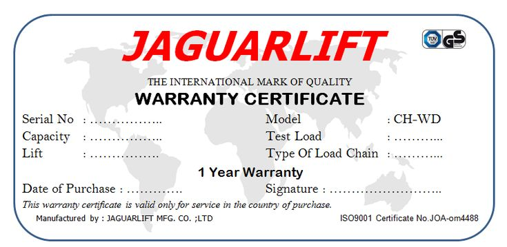 sertifikat chain block jaguar garansi 1tahun