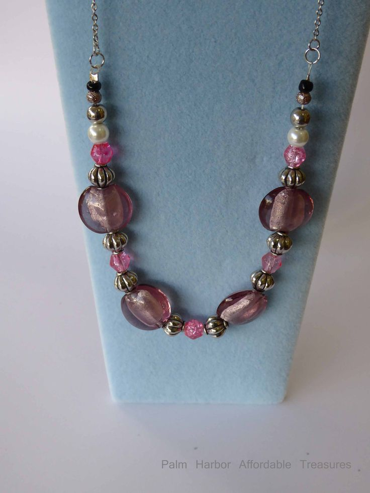Silver chain pink/pearl/silver/black glass bead Necklace