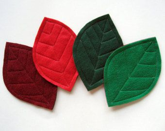 Green Leaves Felt Coasters set of 6