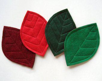 Green Leaves Felt Coasters set of 6
