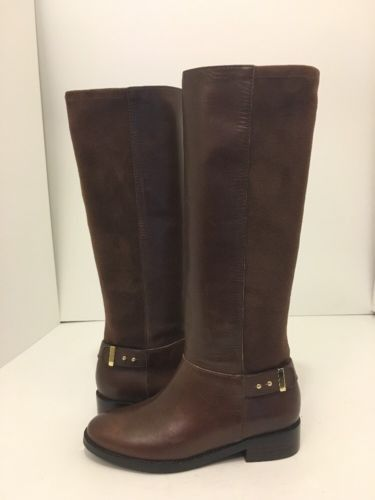 Cole Haan Adler Tall Boot Chestnut Brown Leather Suede Women's Size 5 M