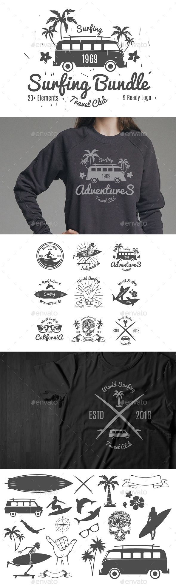 Surfing Pack - Photoshop PSD, Vector EPS