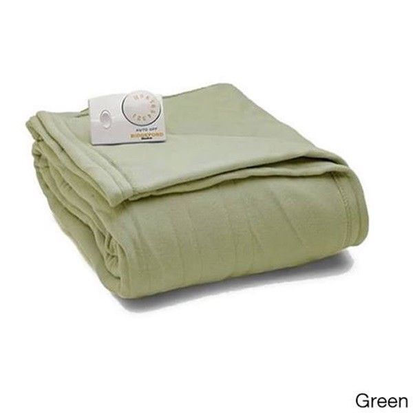 King Size Sage Biddeford Comfort Knit Fleece Heated Blanket Analog Dual Control #Biddeford #Modern