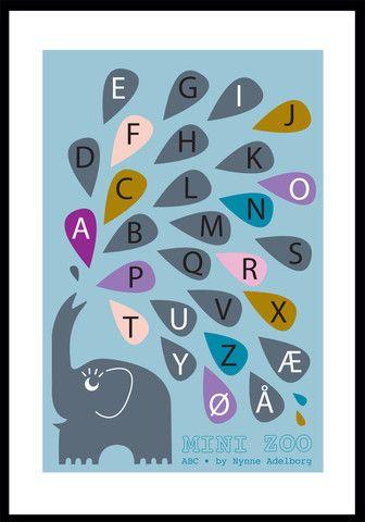 Elefant ABC plakat,A3 – Mini Zoo by Nynne Adelborg