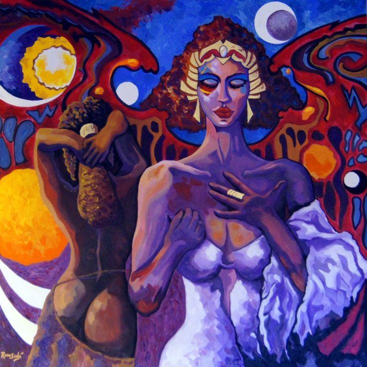 #376 Génesis del pensamiento. Autor: RomSabi, acrílico y esmaltes, sobre tabla de madera, 80 x 80 cm. -