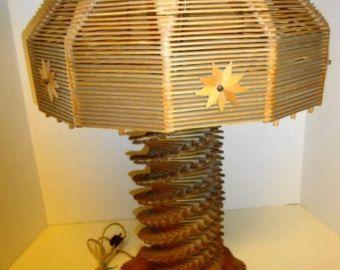 1950s Tramp Art - Popsicle Stick Lamp.