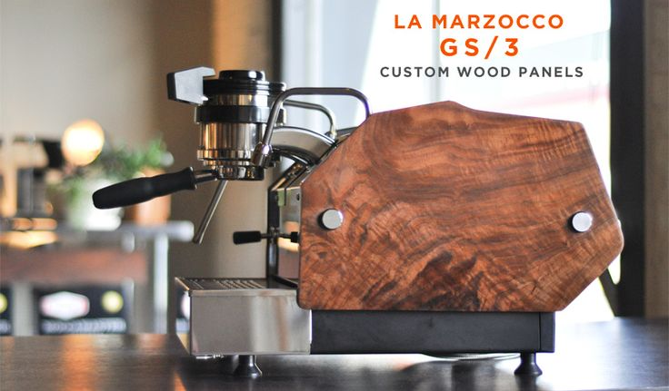 La Marzocco GS/3 - arguably the world's finest espresso machine for home. We designed custom wood side panels that perfectly follow the contours of this handsome machine.