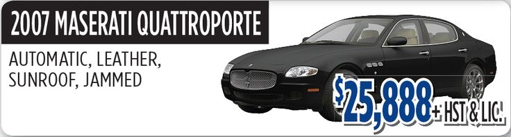 2007 Maserati Quattroporte with automatic Transmission, Leather Seats, Sunroof and Jammed is available for sale in Toronto Canada at reasonable price $25,888 + HST & LIC .  If you are interested to buy 2007 Maserati Quattroporte contact us at: 1-800-557-4069 or visit our website at: http://www.scarsviewchrysler.ca
