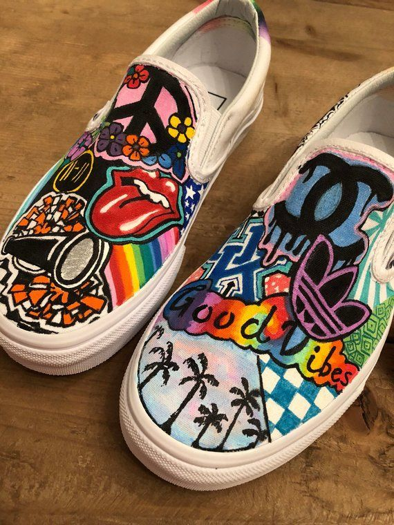 Custom #Hand # Pintado #Vans #o #Converse #Sneakers   – Kleidung