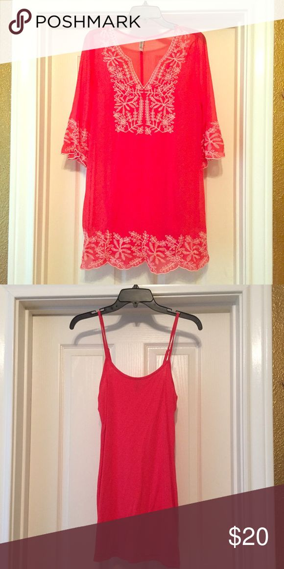 Red Dress / Swim Cover up Dual Purpose dress has  a sheer over lay and then an under dress can be used as a dress or as a swim cover up Dresses Long Sleeve