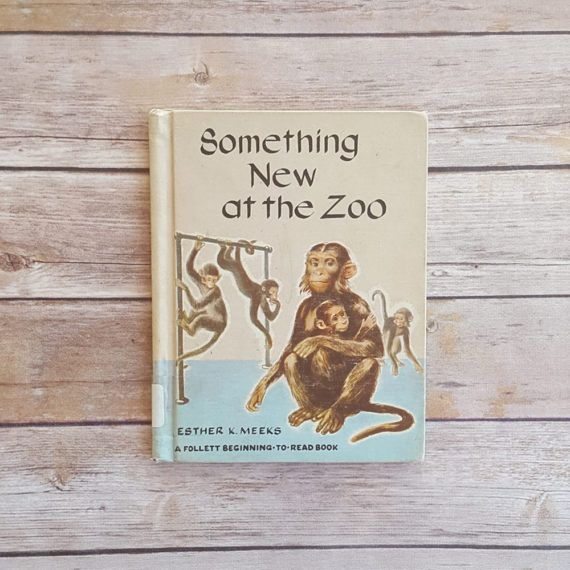 New in The Book Cottage: Zoo Animals Something New At The Zoo Monkey Theme Childrens School Trip Visiting The Zoo Book Beginning to Read Art From 1950s Illustrations by TheBookCottage