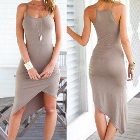 Sexy Spaghetti Strap Asymmetrical Solid Color Women's Dress Club Dresses | RoseGal.com Mobile