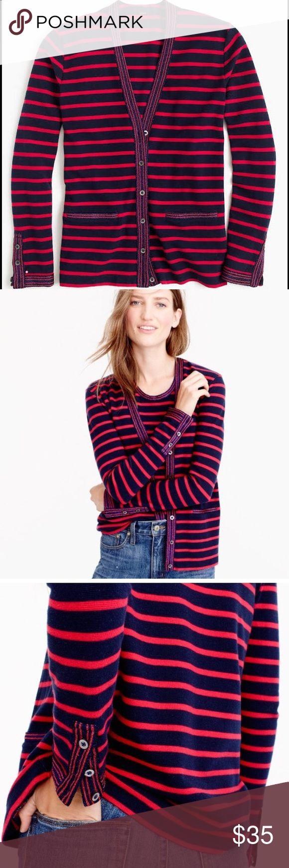 "NWT J. Crew Metallic Trim Striped Cardigan A cute striped cardigan with metallic trim used from a vintage sample.  Cotton/Spandex.  True to size.  Length: 24 1/2"". J. Crew Sweaters Cardigans"