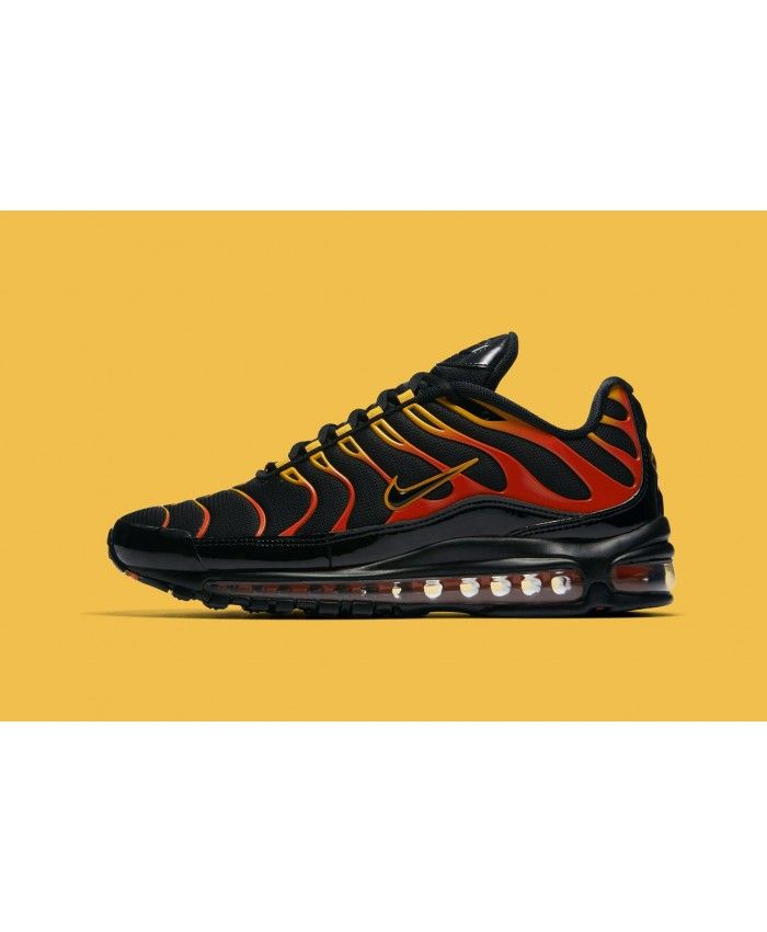 huge discount 1b310 3364a Nike Air Max 97 Plus Black Red Yellow Orange Trainer