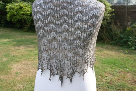 Merino Silk Hand Knit Crescent Shaped Lace Shawl by WrapsodyInLace, £105.00