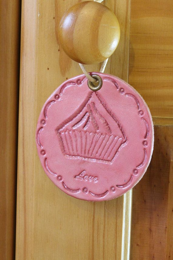 Cupcake Wall Hanging  Pink Leather Love Wall by TinasLeatherCrafts. Repin To Remember.