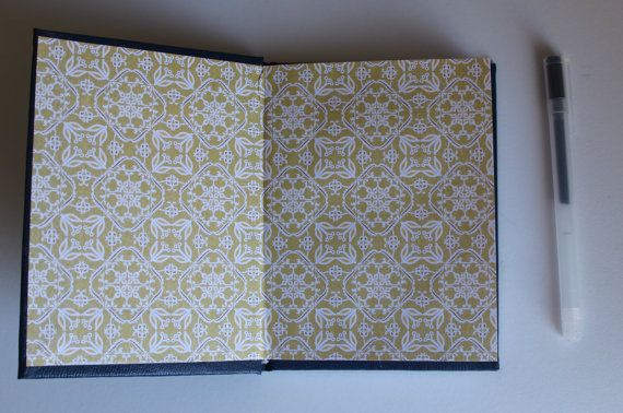 Day 2: Small Navy Blue Hardcover Journal by BoundedPaper on Etsy