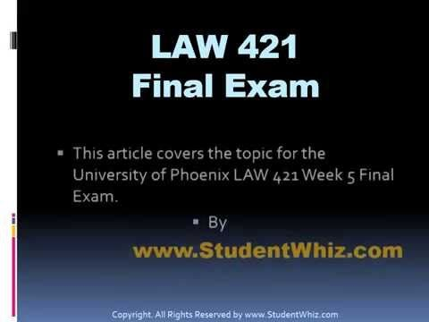 The LAW 421 Final Exam deals with basics of law and the methods in which it could play a role in the life of a common person. We have worked towards making t...  #LAW421finalexam #LAW421finalexamanswers #LAW421finalexamanswersfree #LAW421Week1RoleandFunctionsofLawPaper #LAW421Week2AddressingInternationalLegalandEthicalIssuesSimulationSummary  #LAW421Week3