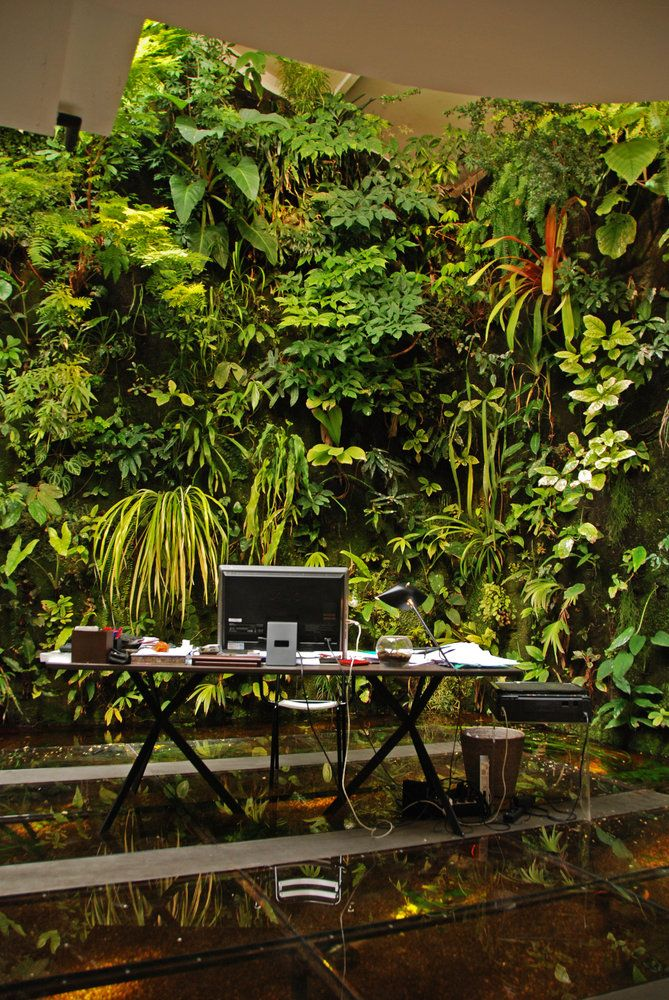 What a fabulous way to work and be inspired! Vertica garden by Patrick Blanc. Fish tank beneath the Desk