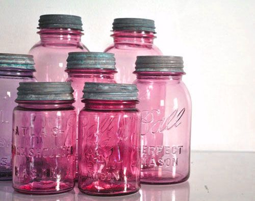 Ball canning jars in red