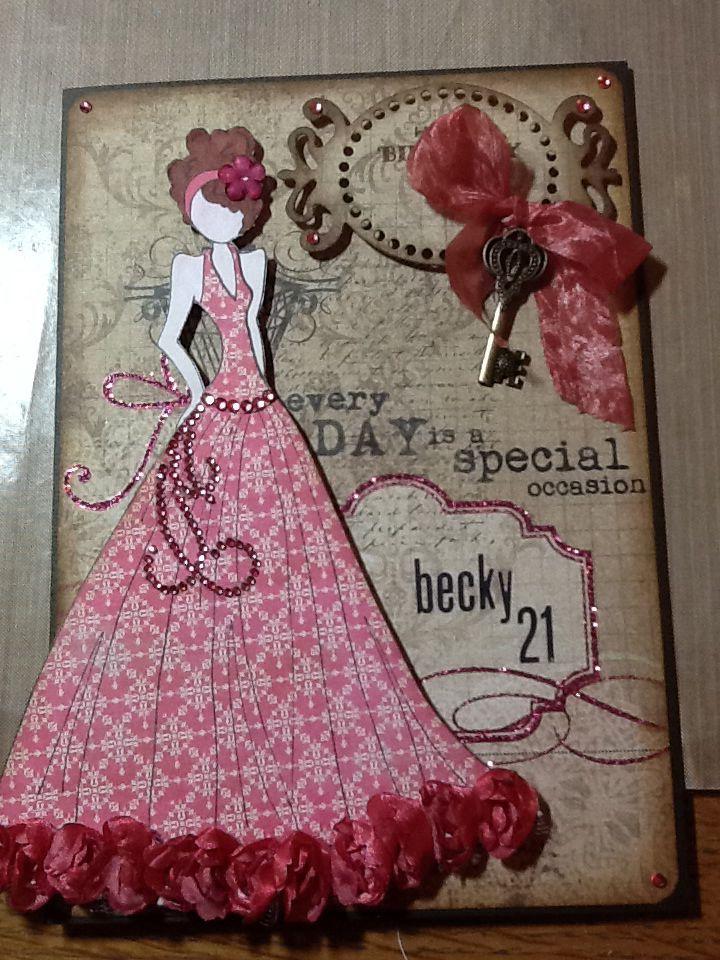 Birthday card using Julie nutting doll